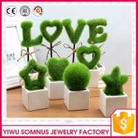 decorative wedding pot flowers / artificial nylon LOVE letters potting plant decors for girls on valentine day