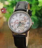 Vintage World Map Watch,Antique unisex Map Watch,