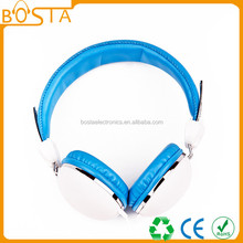 Best price hot selling leather white & blue metal headphone