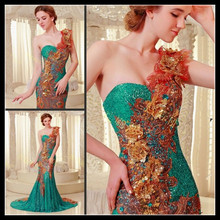 Red/yellow/green peacock feather wedding dresses rhinstones and sequins, ball gown women dresses long trains vestidos clothes