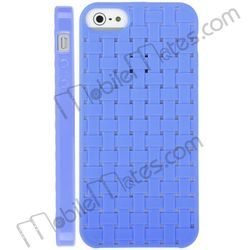Hollow Grid TPU Back Cover Case for iPhone 5 Knit Case(Blue)