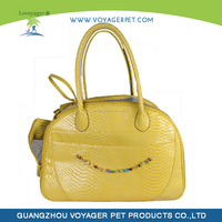 hot selling Yellow leather design Pet carrier