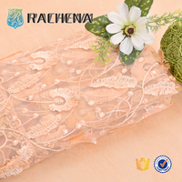 Lady Garment Custom Insulated 100% Polyester Fabrics Soft-touching African Lace luxury ready made embroidery garment fabrics