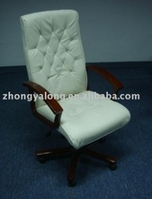 Office Chairman Traditional Button Tufted Leather Office Chair, Size: Seat Height 42 - 56cm