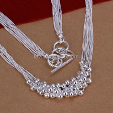 925 Sterling silver fashion necklace beaded braided bib necklace for party