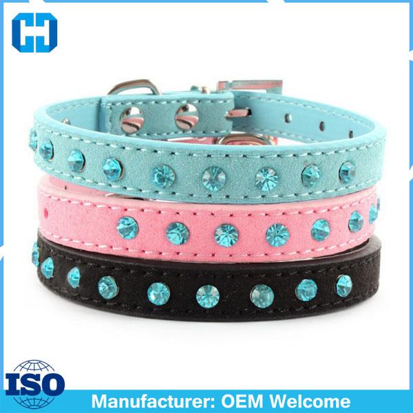 Factory-Price-Small-Pet-Dog-Velvet-PU-Leather-Collar-Puppy-Cat-Crystal-Rhinestone-Neck-Strap