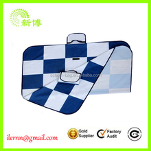 Wholesale blue and white grids logo printing 600D oxford camping beach mat