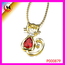 FLOATING CHARM GOLD CUTE CAT PENDANT WITH A RED RUBY