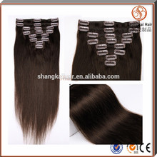Factory direct sales Brazilian human hair extension clip in hair