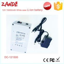 Super 12v ups backup li-ion battery rechargeable power bank Shenzhen Supplier 15ah in white case high quality
