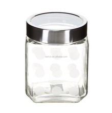 SQUARE FROSTED GLASS CANISTER WITH STAINLESS STEEL / ACRYLIC SEE-THROUGH LID