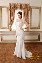 União moda LI meia manga vestido de noiva simples