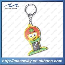 kids lovely cartoon custom design 3D Soft rubber PVC key chain