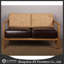US style Linen Fabric Wooden 2 seats Sofa chair