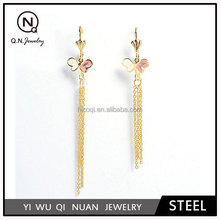 Surgical Steel IPG gold plated tassel style heart charms simple gold earring designs for women