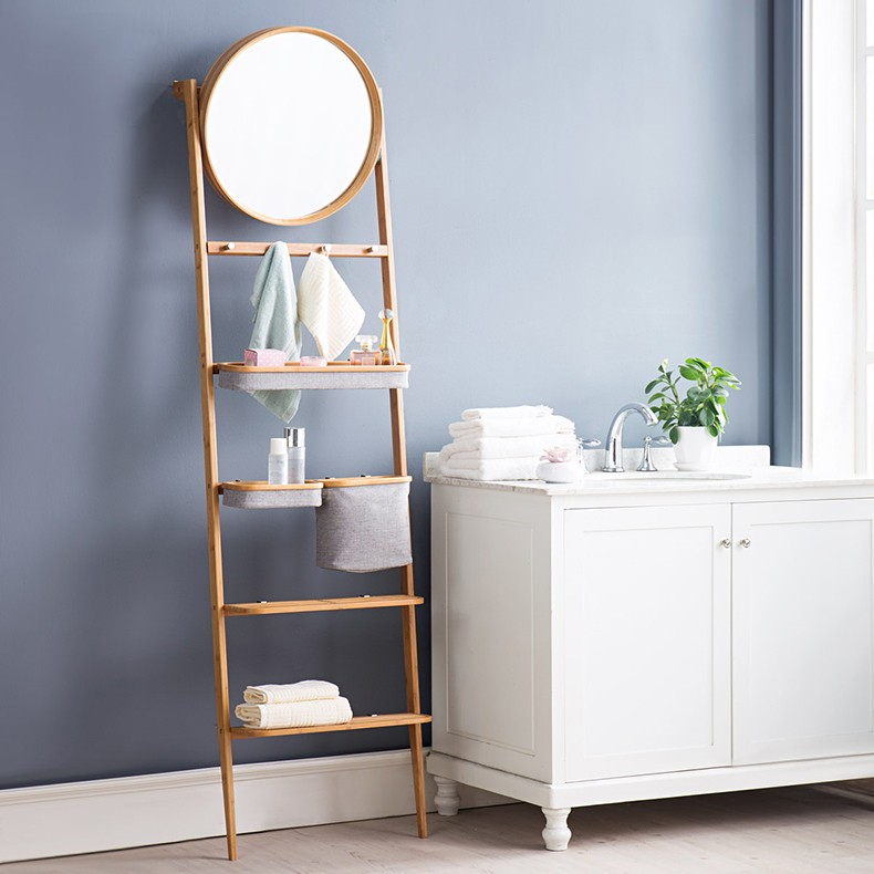 Versatile Bamboo Bathroom Storage Rack With Round Mirror And Fabric ...