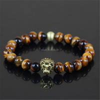 KJL-M2235 Hot Sell natural tiger eye beads and 24k gold plating lion head bracelets with the gold round beads