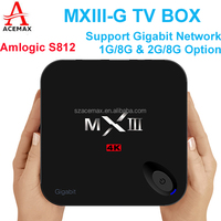 Acemax MXIII -G amlogic S812 quad core tv box with sexi free movie