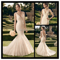 (MY2165) Marry You Sexy Mermaid Dress Sleeveless V-neck Beaded Lace Wedding Gowns 2015