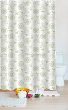 Promotional cheap price low MOQ circle print shower curtains