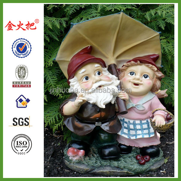 GARDEN GNOME MAN/LADY COUPLE UNDER UMBRELLA YARD FIGURINE DECORATION ELF