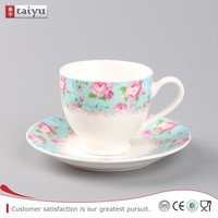 wholesale white porcelain custom printed ceramic tea cups and saucers,cheap bulk ceramic chinese tea cup