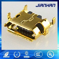 samsung phone charging port gold plated shell 5pin female micro usb connector