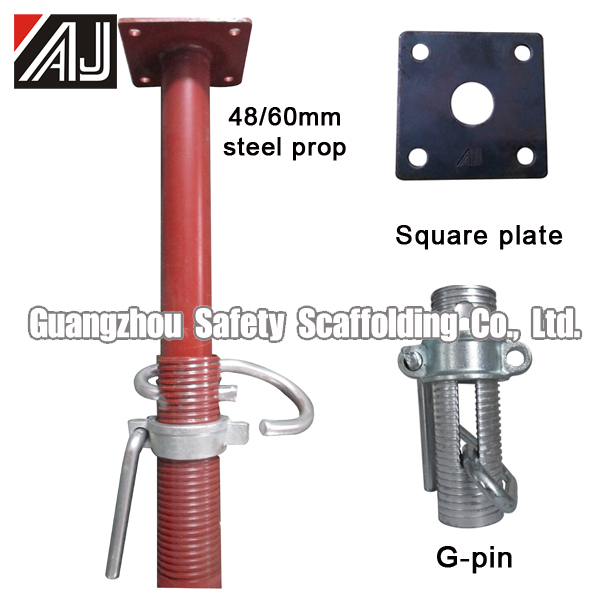 Adjustable Telescopic Prop : Construction scaffolding shoring steel telescopic prop