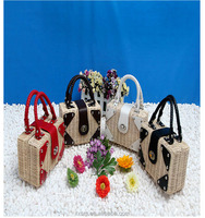 2015 new style rattan weave mini straw bag handbag