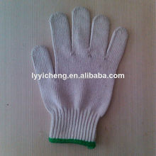 7/10 gauge white knitted cotton gloves manufacturer in china/blue dots cotton gloves