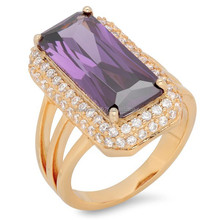 925 Sterling Essentials Gold over Silver Purple Fancy Cut CZ with White Pave Cocktail Ring