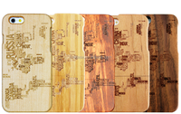 Wholesale phone case laser engraving with much more country names pattern wood case