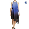 Pleated asymmetrical rounded neckline banded waist chiffon cocktail dress