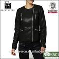 las negros chaquetas del cuero casual del último diseño de 2014 de moda de precio ajustado para las mujeres