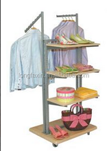 "Display Combo Clothing Rack Combination of 46"" tall double sided metal frame with 22""D X 28""W wood base with casters. 1st side c"