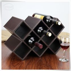 newest pu leather travel cardboard leather wine carrier