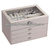 Factory price 4 layers Glass top white PU leather watch & jewelry storage box with silver lock