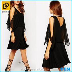 True to size V-neckline semi-sheer chiffon evening dress fashion dress 2015