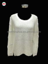 2015 las mujeres de moda vestido de suéter, largo- manga cuello redondo de cuero de la pu jersey