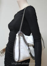 Faux leather Double chain handle and long shoulder strap Foldover Tote Bag Purse Designer Handbags Shop ladies fashion Bags