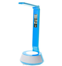 2015 touch key rechargeable led table lamp with calendar clock