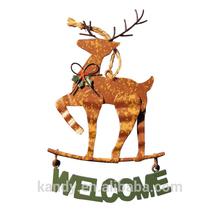 """Colgando de la pared de navidad renos con"""" bienvenido"""" signo"""