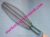 Popular Fish type Stainless Steel Crimped Barbecue wire mesh for Japan and South Korean barbecue wire mesh