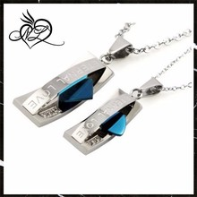 Stainless Steel Blue Couples Eternal Love Pendants Necklace Set