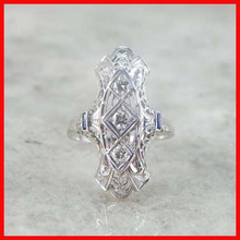 fashion fine jewelry antique styles 1950s vintage 925 silver long finger ring,cluster 1 carat diamond engagement ring