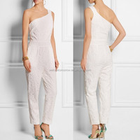 White lace one-shoulder silhouette newest collection lady jumpsuit wholesale
