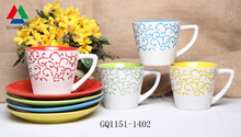 High quality silkscreen printing mug inner colored mug with saucer