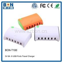 Portable 40 Watt 6 Port USB Desktop Rapid Charger. Intelligent USB Charger with Auto Detect