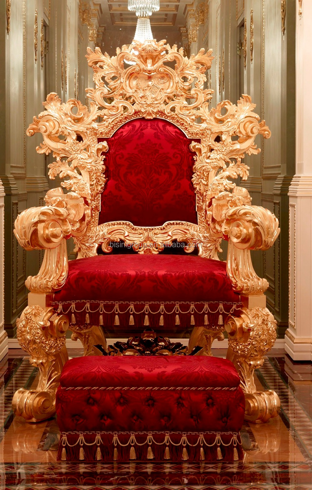 Luxurious Royal Solid Wood King Chair With Stool Imperial