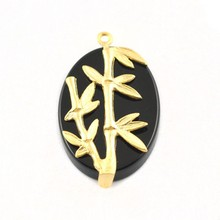 Pendant, Fashion Jewellery Oval Agate Onyx Beads Antique Gold Pendant, Pendant Jewelry Findings Metal P7652